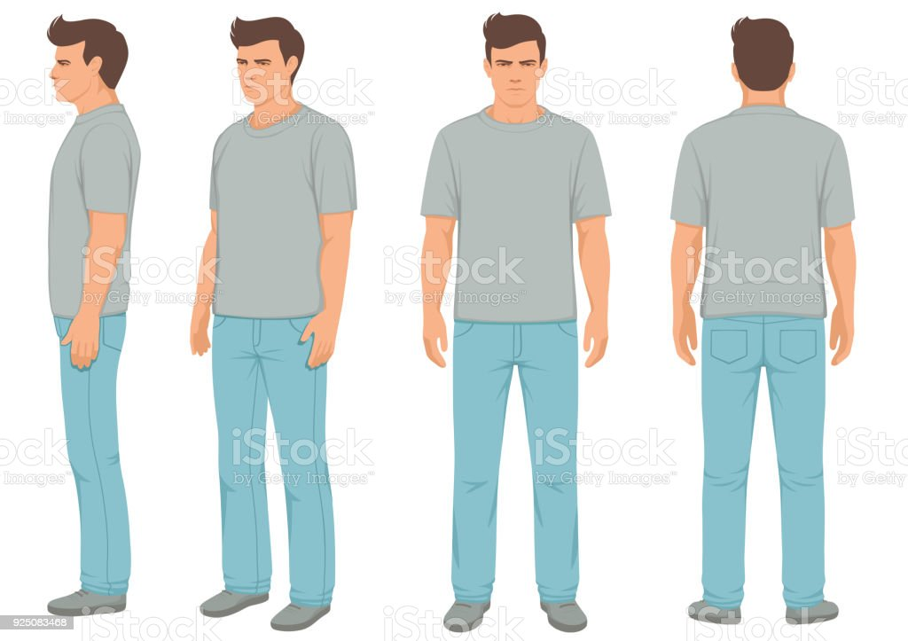 fashion man isolated, front, back and side view, vector art illustration