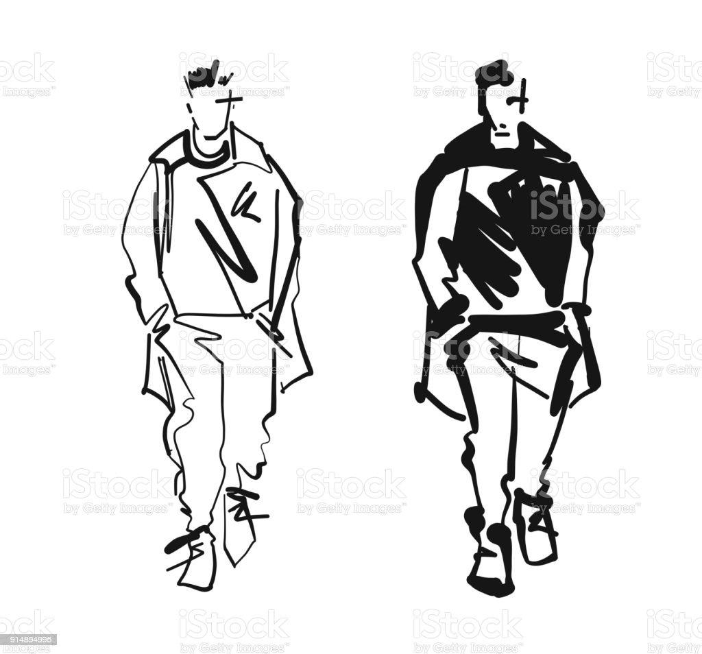 0e9b0499 Fashion man model silhouettes hand drawn. Monochrome vector. Male fashion  illustration . royalty-