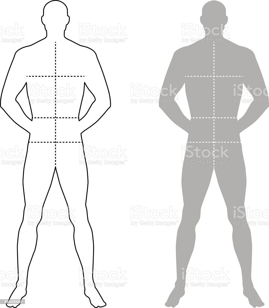 fashion man outlined template figure silhouette イラストレーション