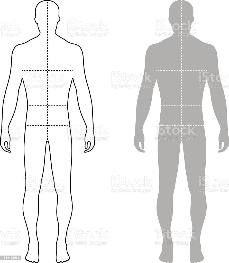 fashion man outlined template figure silhouette with