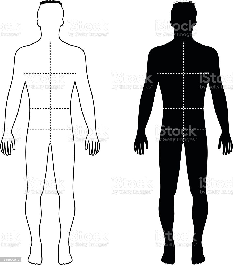 Fashion Man Outlined Template Figure Silhouette With Marked Body ...