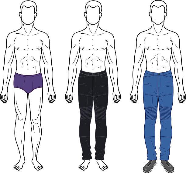 ilustrações de stock, clip art, desenhos animados e ícones de moda homem descritos modelo completo comprimento a figura silhueta - tronco nu