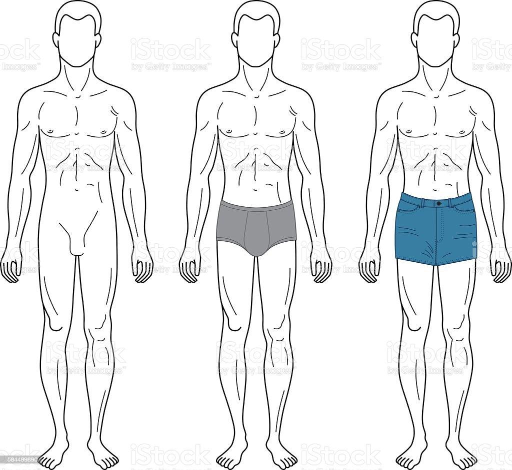 Fashion man outlined template full length figure silhouette vector art illustration