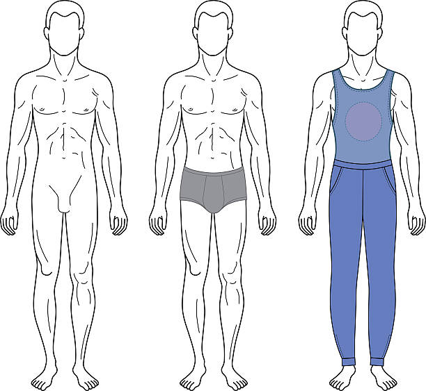 Royalty Free Drawing Of The Full Body Naked Men Clip Art, Vector Images -2007