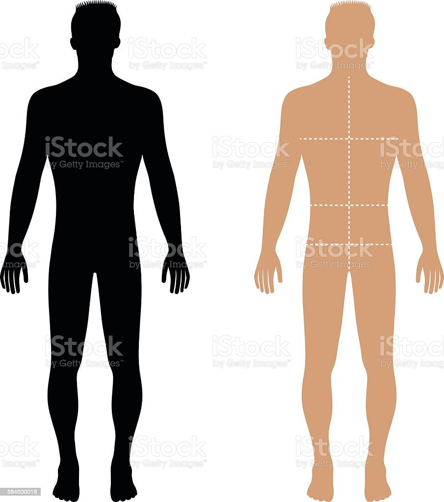 Fashion Man Solid Template Figure Silhouette With Marked Bodys Stock