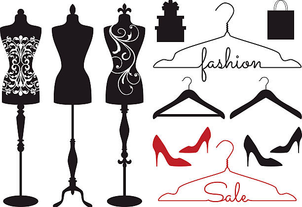 fashion mannequins, vector set - shoes fashion stock illustrations, clip art, cartoons, & icons
