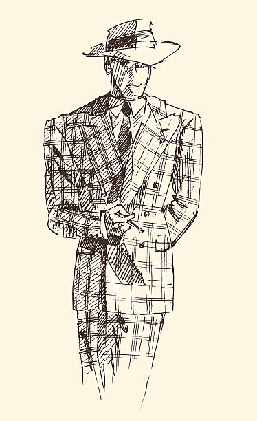 stockillustraties, clipart, cartoons en iconen met fashion men in checkered suite with hat vector - guy with cigar