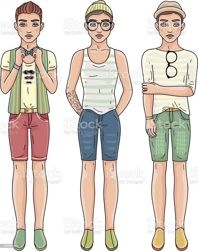 Fashion men vector art illustration