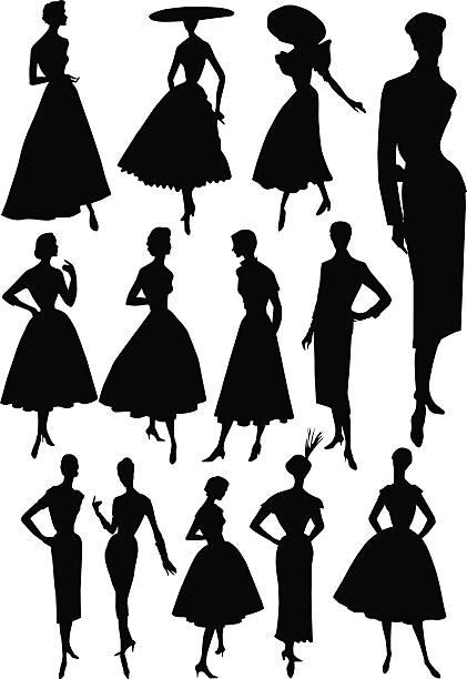 ilustrações, clipart, desenhos animados e ícones de modelo de moda com estilo anos 1950 - moda parisiense