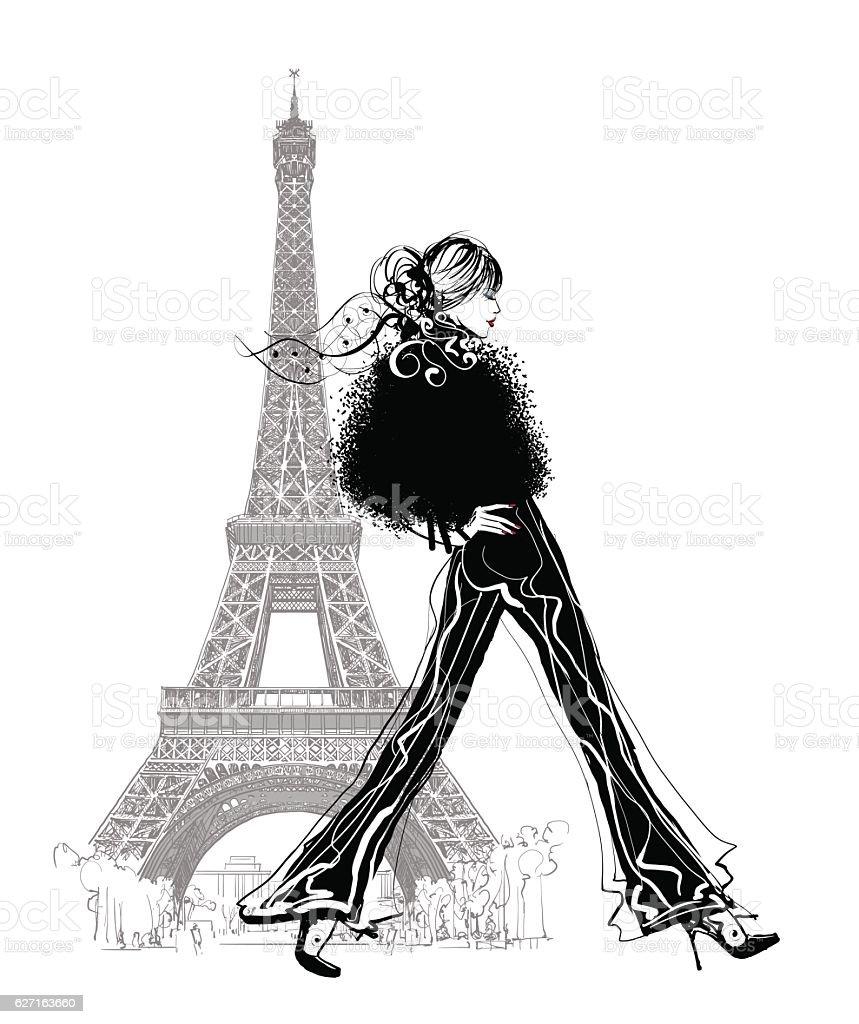 Fashion model by Eiffel tower - ilustração de arte em vetor