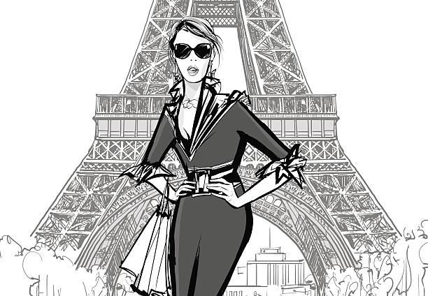 ilustraciones, imágenes clip art, dibujos animados e iconos de stock de fashion model by eiffel tower - moda parisina