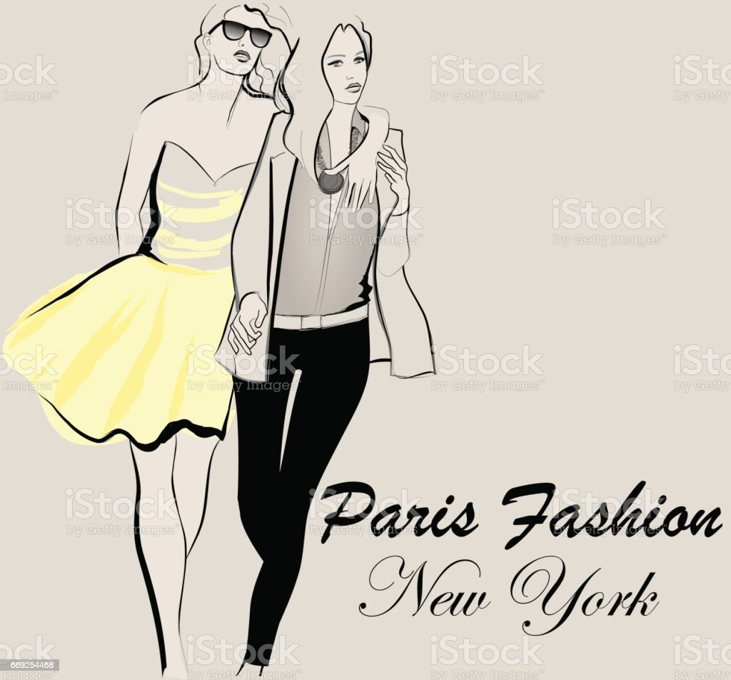 Fashion model defile vector art illustration