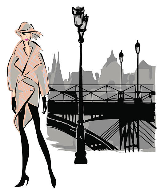 Fashion model fall winter with Paris city background vector art illustration