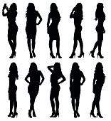 Fashion model female silhouettes in various poses