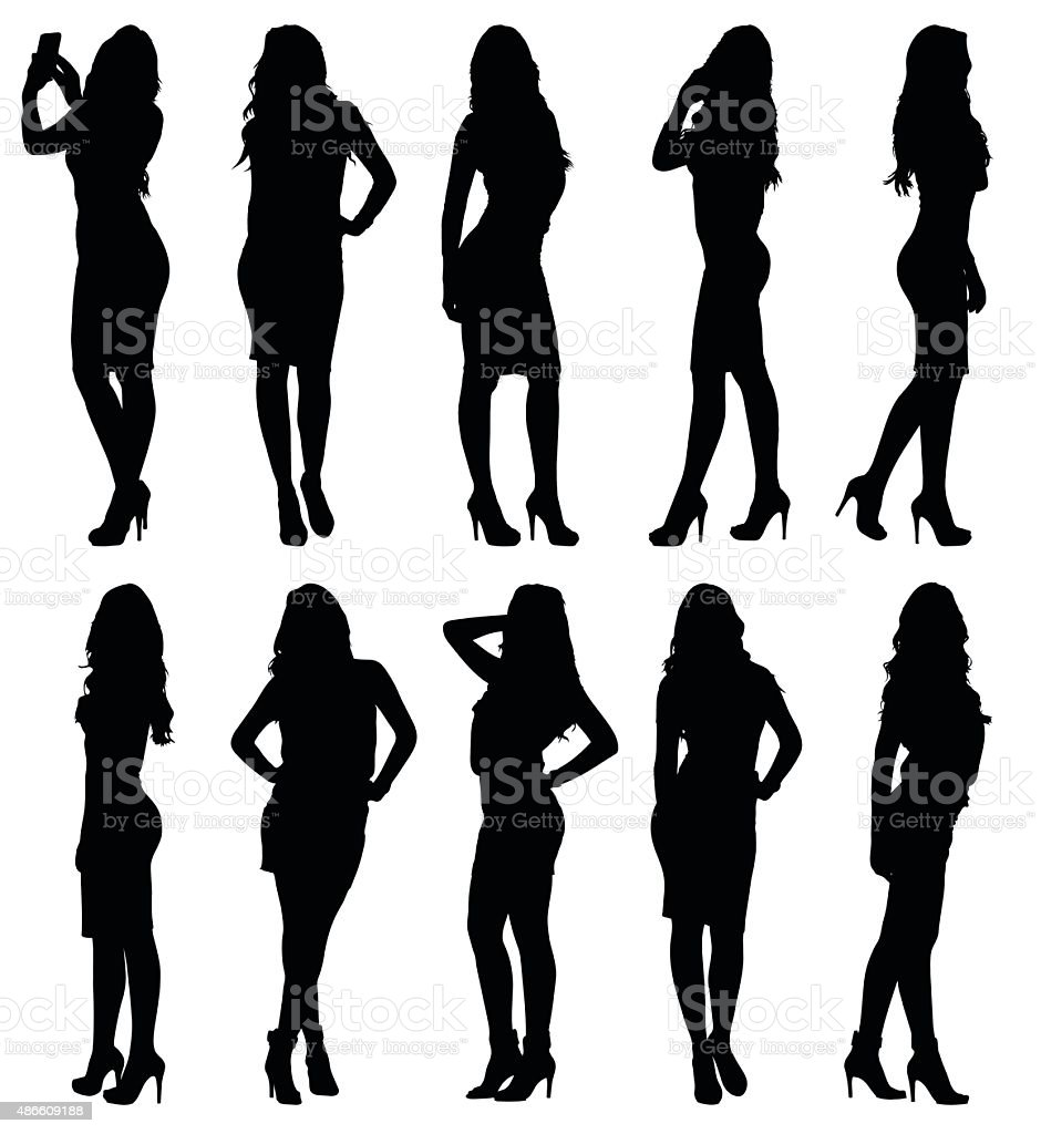 Fashion model female silhouettes in various poses vector art illustration