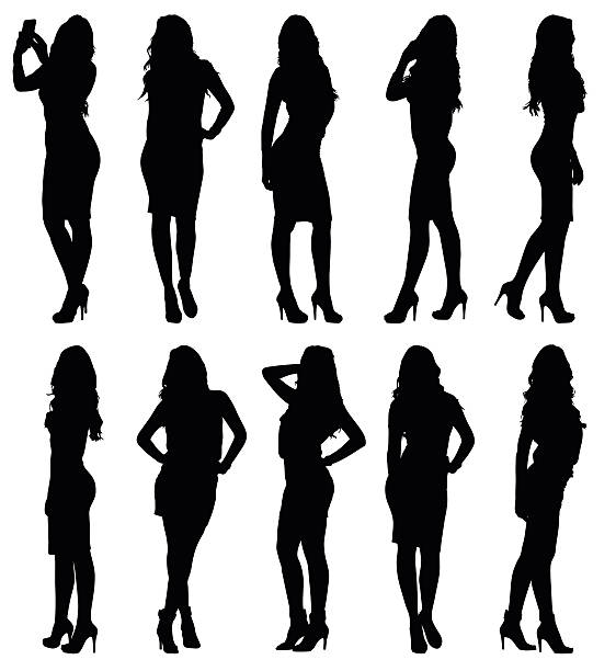 Fashion model female silhouettes in various poses Fashion woman model silhouette in various poses. Set or collection of different figures. Easy editable layered vector illustration. sensuality stock illustrations