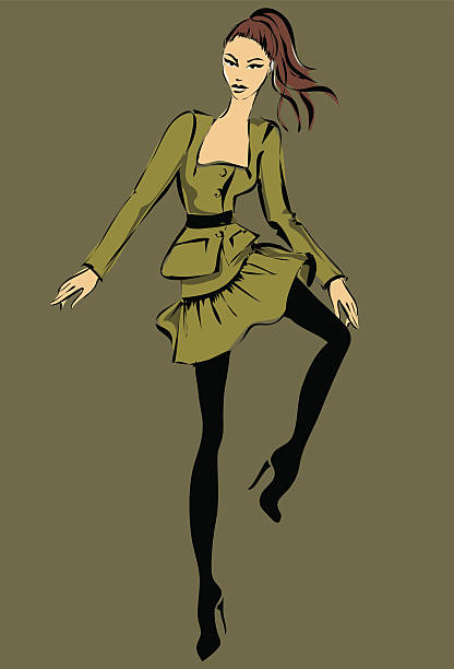 Fashion model in sketch style fall winter vector art illustration