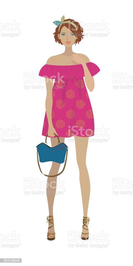 Modelo De Moda En El Verano Rosa Impresa Vestido Fucsia - Arte ...