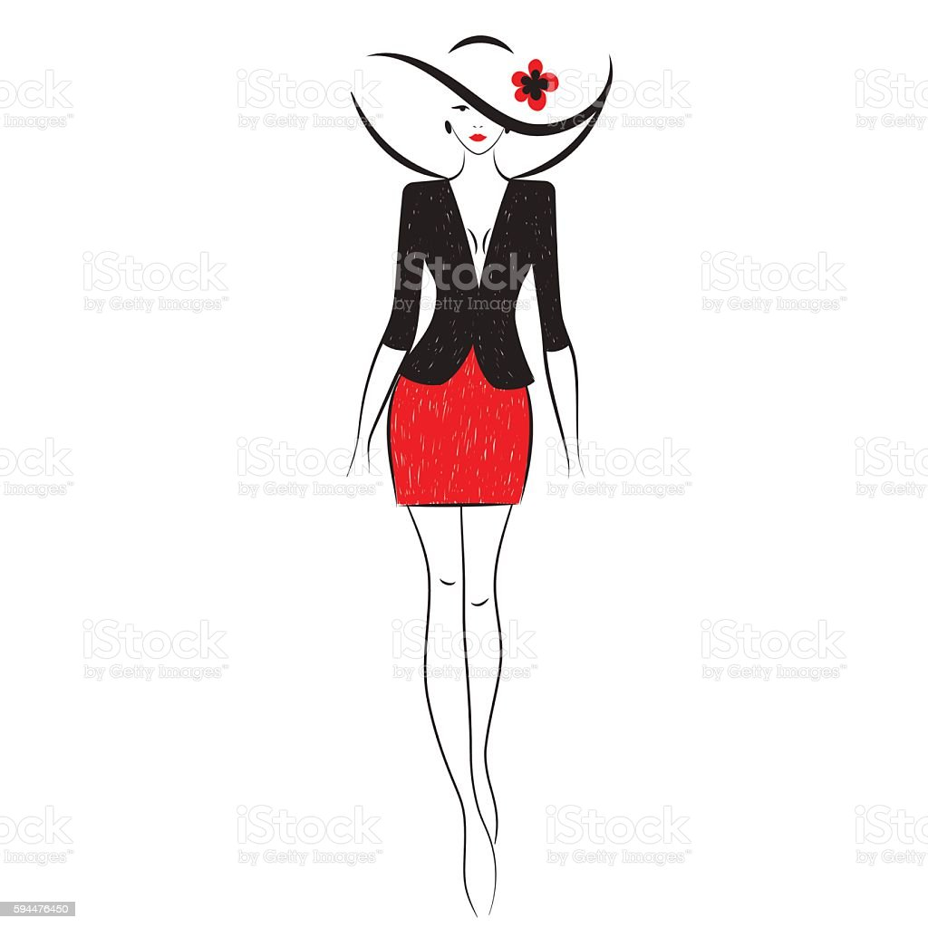 fashion model sketch stock vector art amp more images of