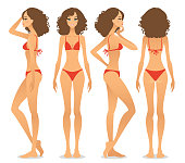 Front view, side view and back view of a young woman in bikini, isolated on a white background.
