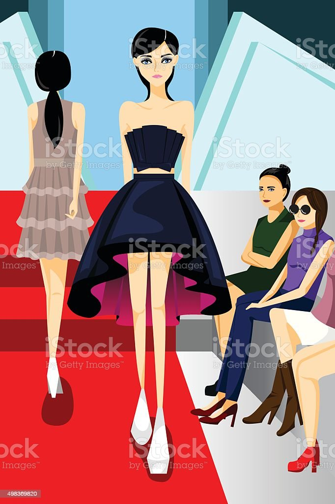 Fashion Model Walking on Runway Show vector art illustration