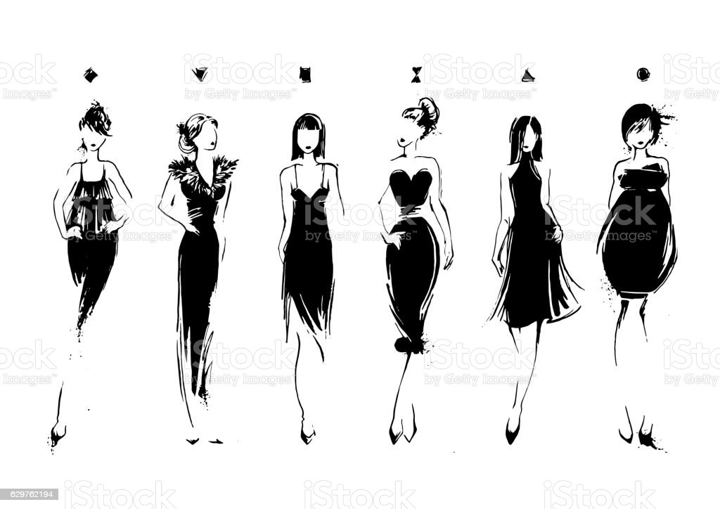 Fashion models in sketch style. Collection of evening dresses. Female vector art illustration
