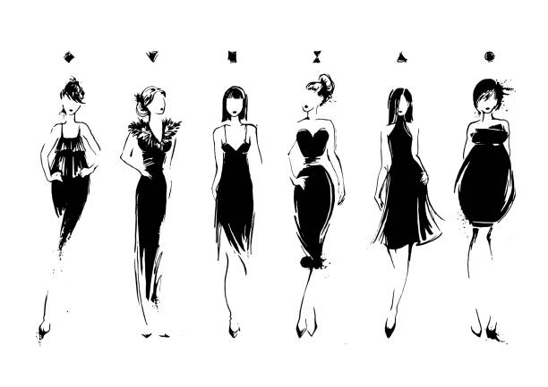 ilustrações, clipart, desenhos animados e ícones de fashion models in sketch style. collection of evening dresses. female - fashion