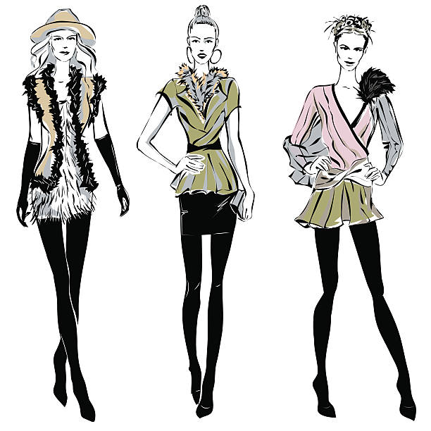 fashion models in sketch style fall winter - winter fashion stock illustrations, clip art, cartoons, & icons