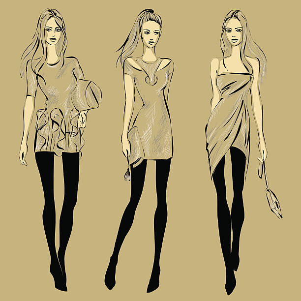Fashion models in sketch style fall winter vector art illustration