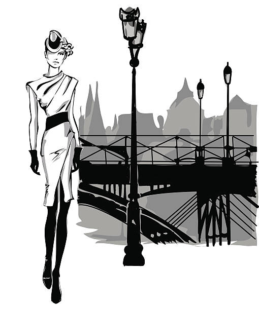 Fashion models in sketch style fall winter with city background vector art illustration