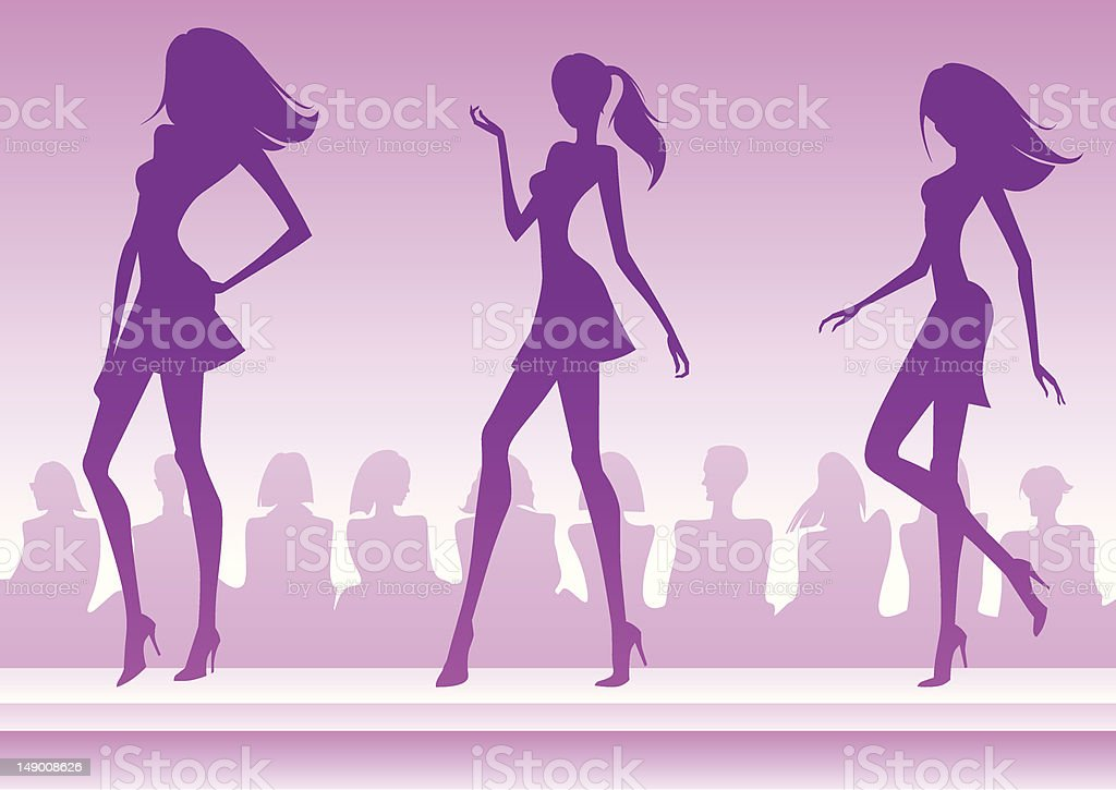Fashion models present a new collection vector art illustration
