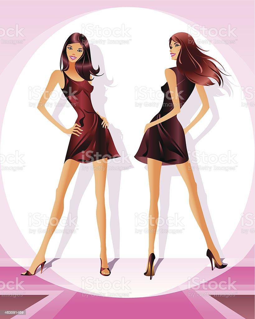Ilustración De Moda Modelos Representan Ropa Nueva A La Revisión Y