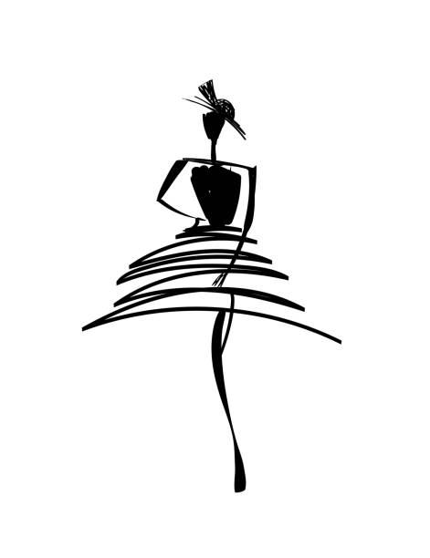 illustrazioni stock, clip art, cartoni animati e icone di tendenza di fashion models sketch hand drawn silhouette pop art - sfilata