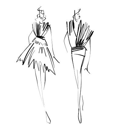 Fashion Models Sketch Hand Drawn Stylized Silhouettes ...