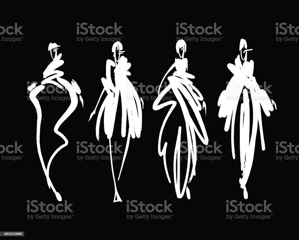 Fashion-Modelle skizzieren Hand gezeichnete, stilisierte Silhouetten isoliert. Mode-Illustration Vektor festgelegt. – Vektorgrafik