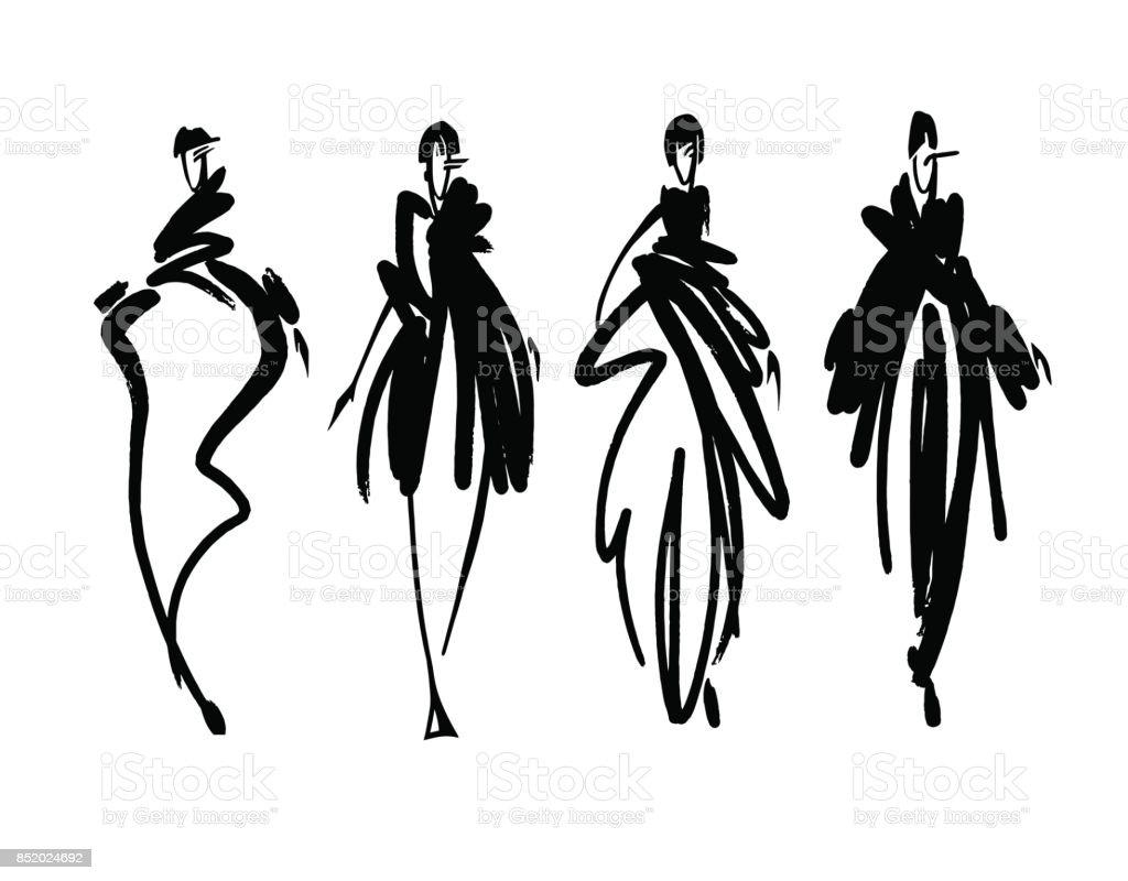 Fashion Models Sketch Hand Drawn Stylized Silhouettes