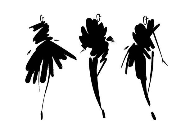 fashion-modelle skizzieren hand gezeichnete, stilisierte silhouetten isoliert. mode-illustration vektor festgelegt. - damenmode stock-grafiken, -clipart, -cartoons und -symbole