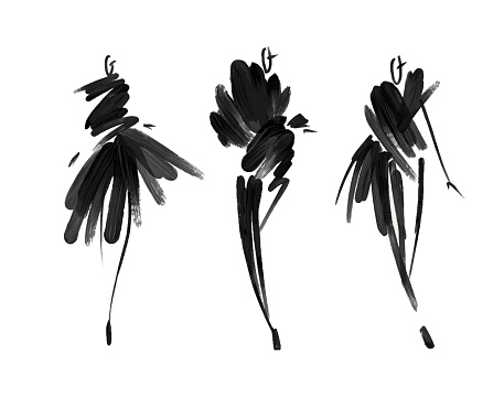 Fashion Models Sketch Hand Drawn Stylized Silhouettes Isolatedvector Fashion Illustration Set Stock Illustration - Download Image Now