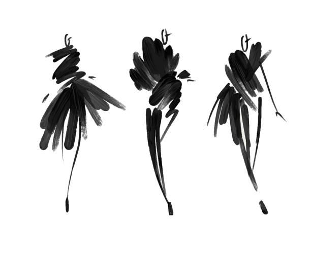 ilustrações, clipart, desenhos animados e ícones de modelos de moda croqui mão desenhadas, estilizadas silhuetas isoladas. ilustração de moda vetor definido. - moda