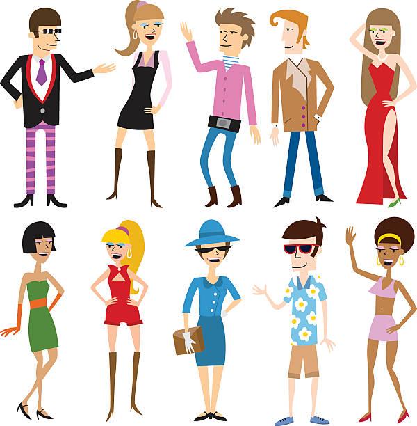 stockillustraties, clipart, cartoons en iconen met fashion models - men blazer