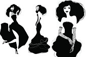 Illustration of 3 fashion silhouettes.