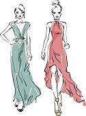 Two models. Fashion illustration