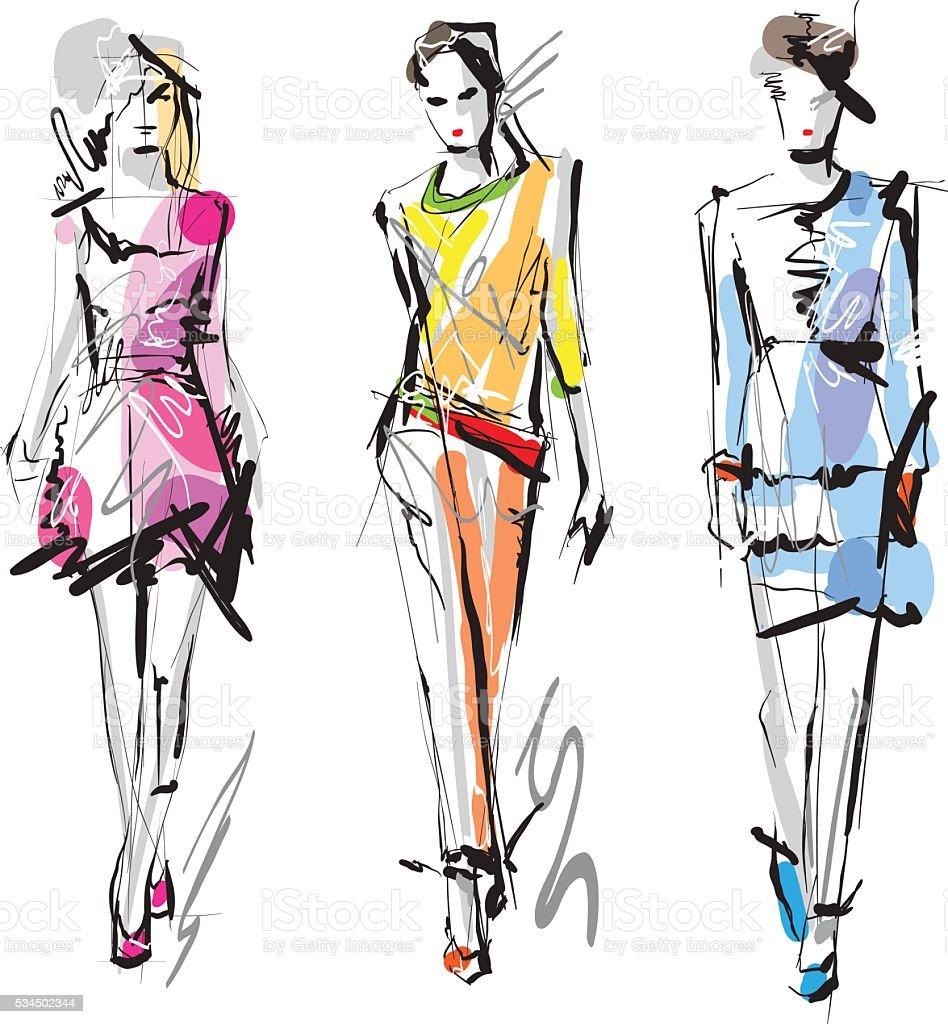 Fashion models vector art illustration