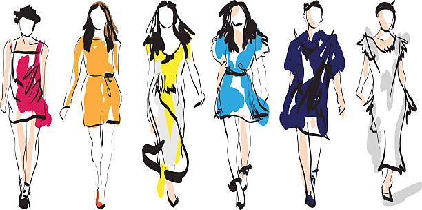 Fashion models Fashion models. Sketch.Fashion models. Hand drawn sketch fashion stock illustrations