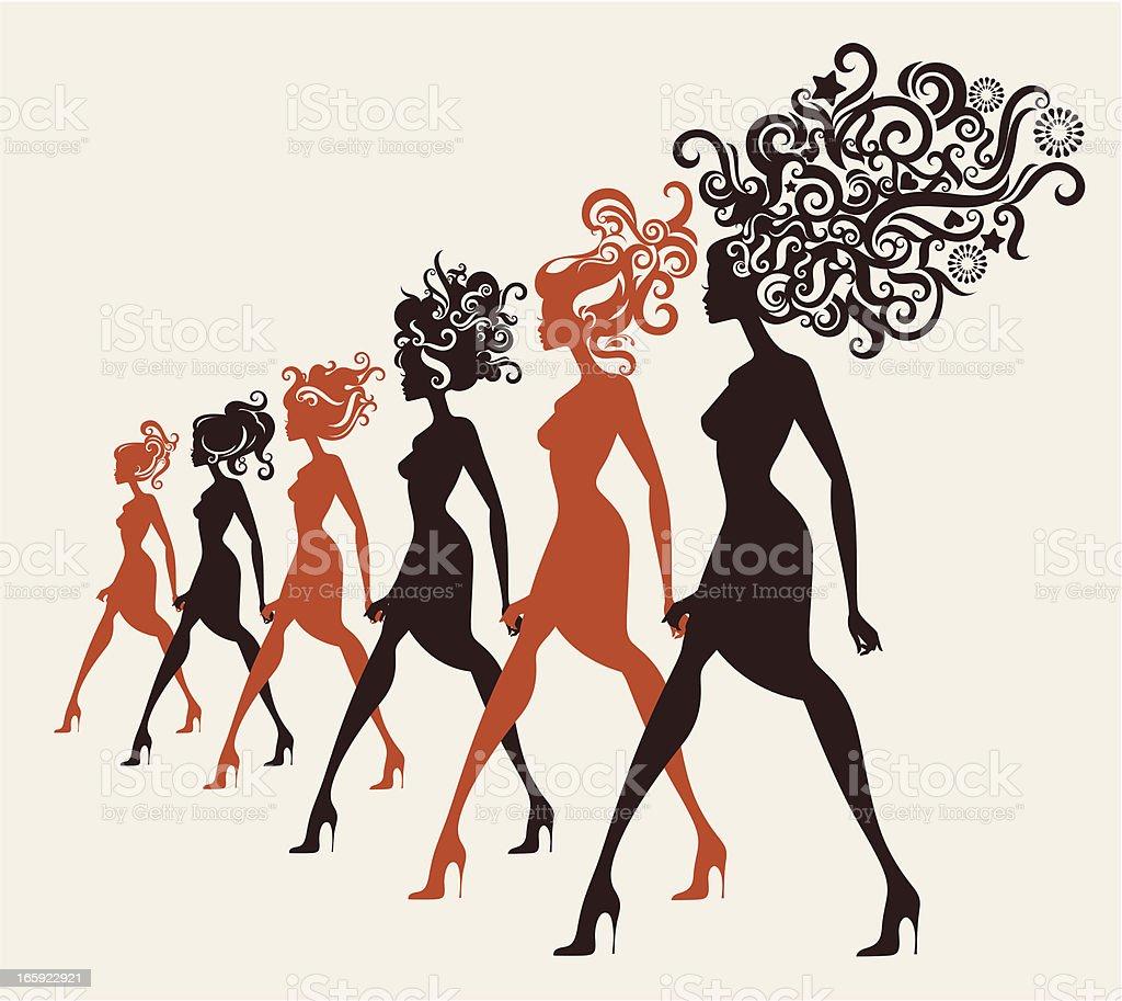Fashion models walking in a row. vector art illustration
