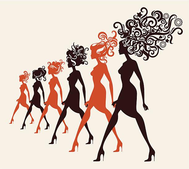 Moda modele spaceru w rzędzie. – artystyczna grafika wektorowa