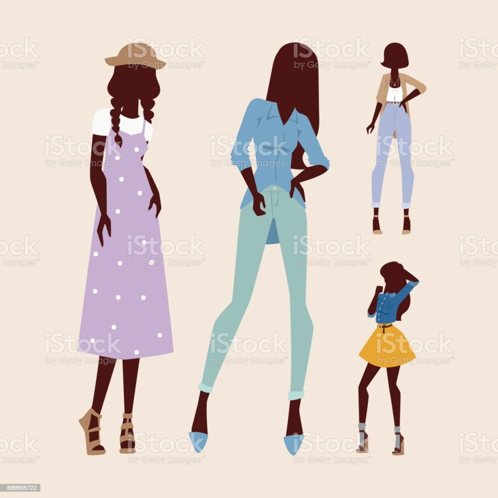 Ilustración De Silueta De Moda Modelos Mujer Boceto