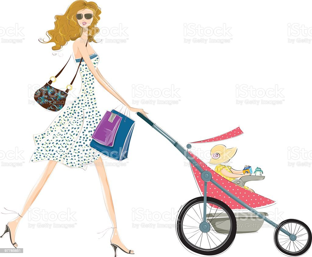 Fashion mommy and baby royalty-free stock vector art