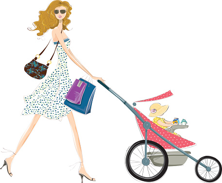 Fashion mommy and baby