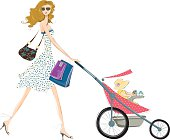 Cute fashionable mother taking her baby for a walk in her baby stroller